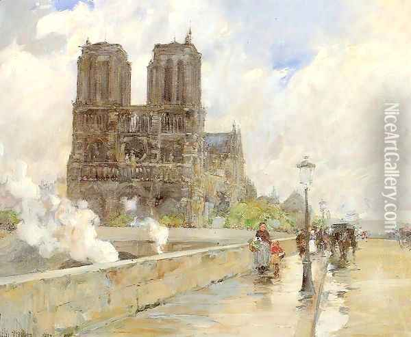 Notre Dame Cathedral, Paris 1888 Oil Painting - Childe Hassam