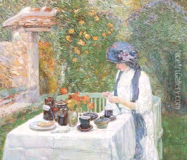The Terre-Cuite Tea Set 1910 Oil Painting - Childe Hassam