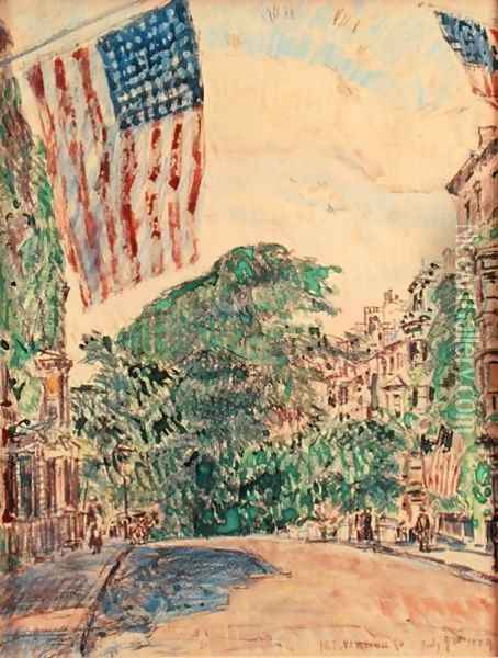 Mount Vernon Street, Boston, 1919 Oil Painting - Childe Hassam