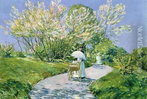 A Walk in the Park Oil Painting - Childe Hassam
