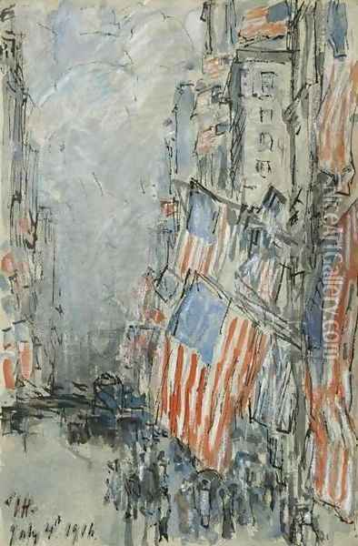 Flag Day, Fifth Avenue, July 4th 1916 Oil Painting - Childe Hassam