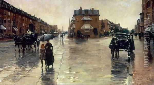 A Rainy Day in Boston Oil Painting - Childe Hassam