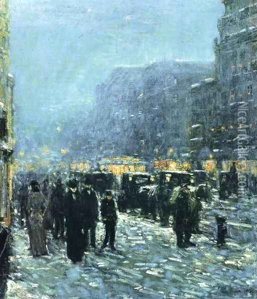 Broadway and 42nd Street Oil Painting - Childe Hassam