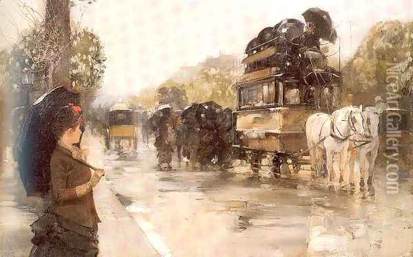 April Showers, Champs Elysées, Paris 1888 Oil Painting - Childe Hassam