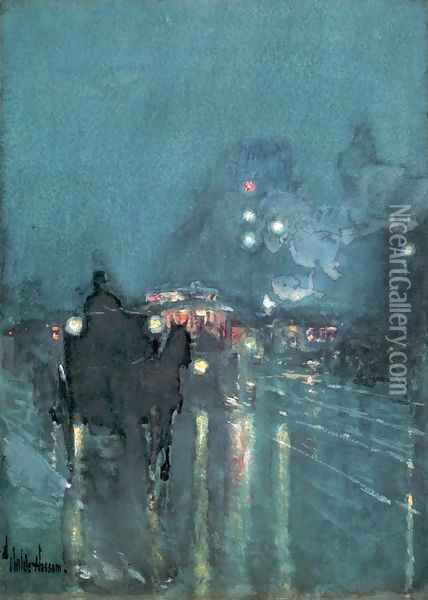 Nocturne, Railway Crossing, Chicago 1892-93 Oil Painting - Childe Hassam