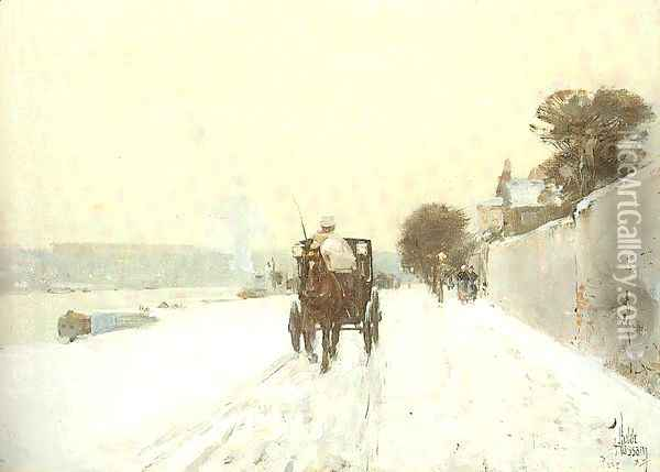 Along the Seine, Winter 1887 Oil Painting - Childe Hassam