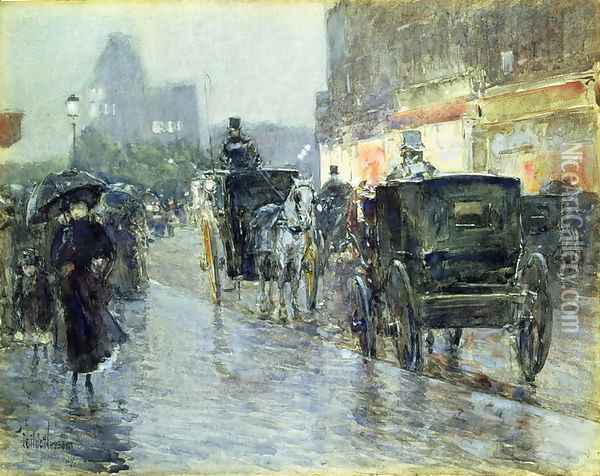 Horse Drawn Cabs at Evening, New York, c.1890 Oil Painting - Childe Hassam