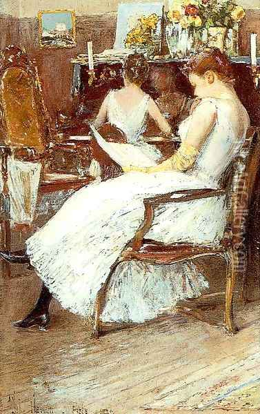 Mrs. Hassam and Her Sister 1889 Oil Painting - Childe Hassam