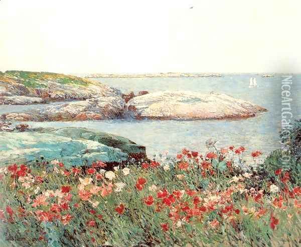 Poppies, Isles of Shoals 1891 Oil Painting - Childe Hassam