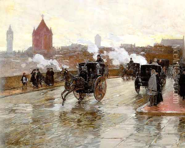 Clearing Sunset (Corner of Berkeley St. and Columbus Ave.) 1890 Oil Painting - Childe Hassam