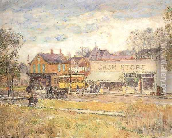 End of the Trolley Line, Oak Park, Illinois 1893 Oil Painting - Childe Hassam