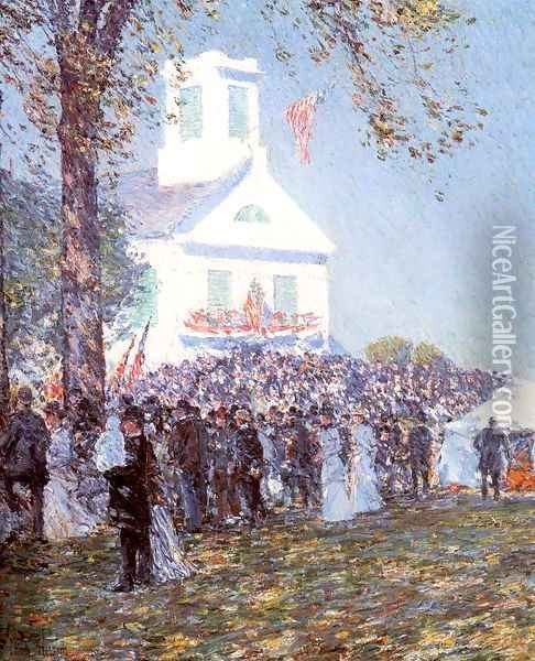 County Fair, New England 1890 Oil Painting - Childe Hassam