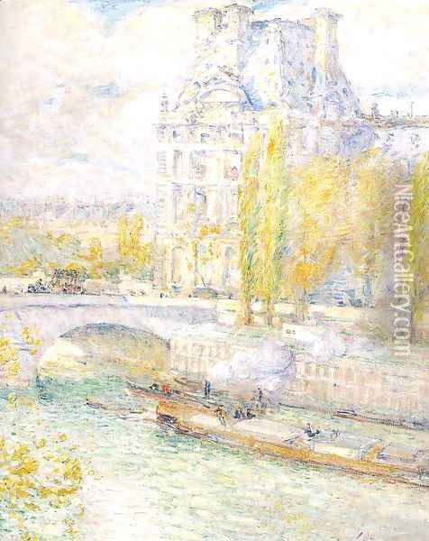 Le Louvre et le Pont Royal 1897 Oil Painting - Childe Hassam
