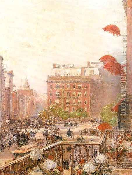 View of Broadway and Fifth Avenue 1890 Oil Painting - Childe Hassam