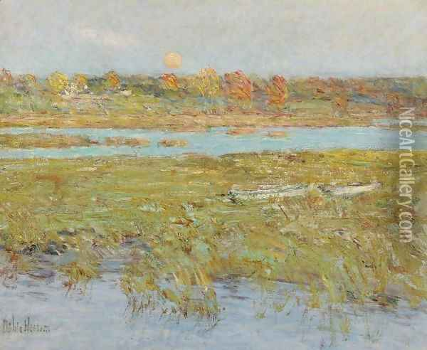 Harvest Moon (Marsh and Meadow) Oil Painting - Childe Hassam