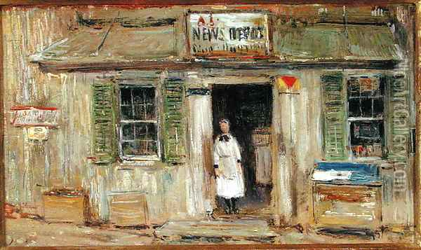 News Depot, Cos Cob, 1912 Oil Painting - Childe Hassam
