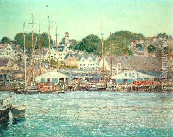Gloucester Harbour, 1917 Oil Painting - Childe Hassam