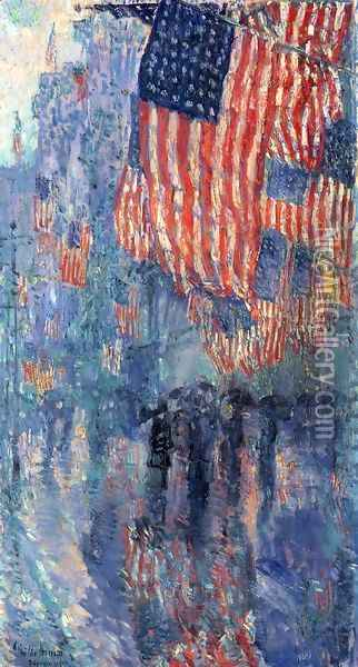 The Avenue in the Rain Oil Painting - Childe Hassam
