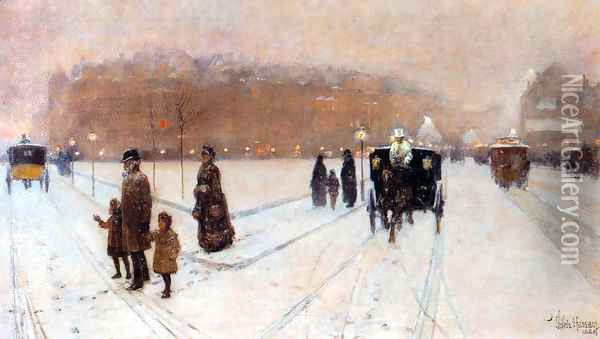 A City Fairyland Oil Painting - Childe Hassam