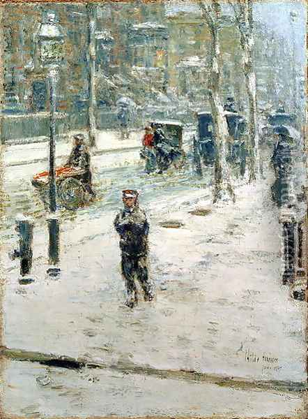 Snow Storm, Fifth Avenue, 1907 Oil Painting - Childe Hassam