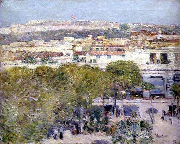Place Centrale and Fort Cabanas, Havana, 1895 Oil Painting - Childe Hassam