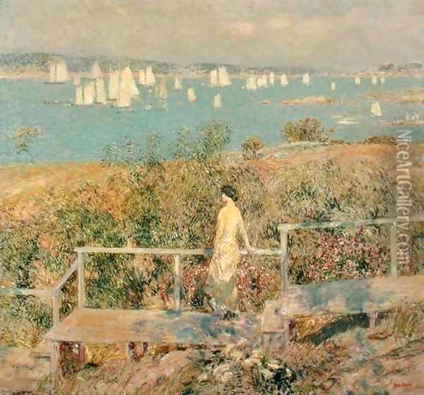 Yachts, Gloucester, 1889 Oil Painting - Childe Hassam
