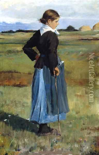 French Peasant Girl Oil Painting - Childe Hassam