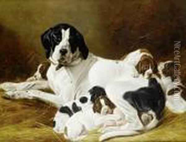 The New Litter Oil Painting - Richard Ansdell