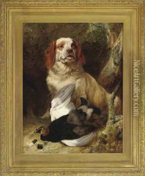 Spaniel And Blackcock Oil Painting - Richard Ansdell