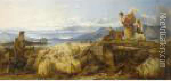 West Highlands - Dunstaffnage Castle In The Distance Oil Painting - Richard Ansdell