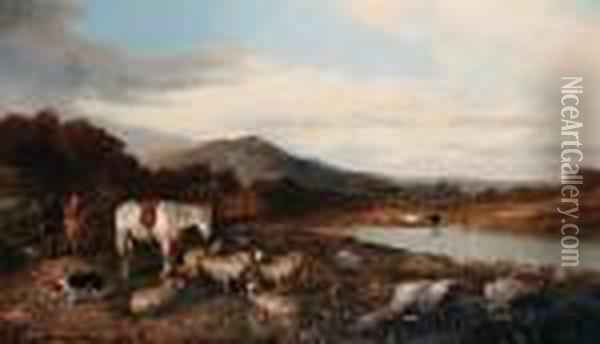 A Highland Scene Oil Painting - Richard Ansdell