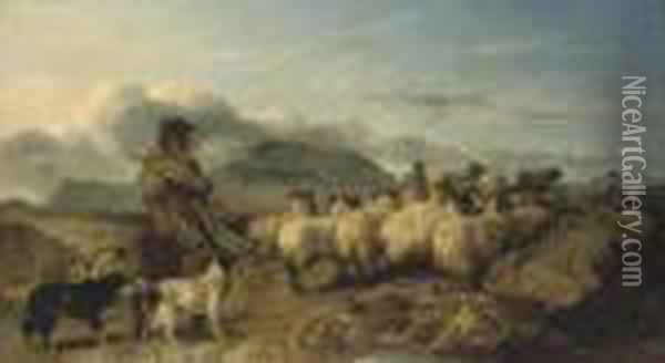 A View In The Grampians Oil Painting - Richard Ansdell
