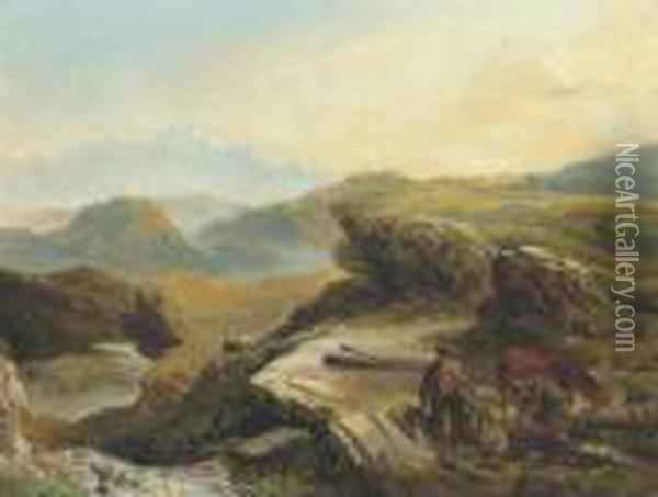 Highland Landscape With Figures Logging In The Foreground Oil Painting - Richard Ansdell