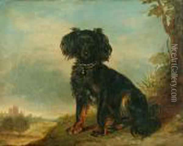 Circle Of Richard Ansdell (mid 19th Century)  A Cavalier King Charles Spaniel Before A Landscape Oil Painting - Richard Ansdell