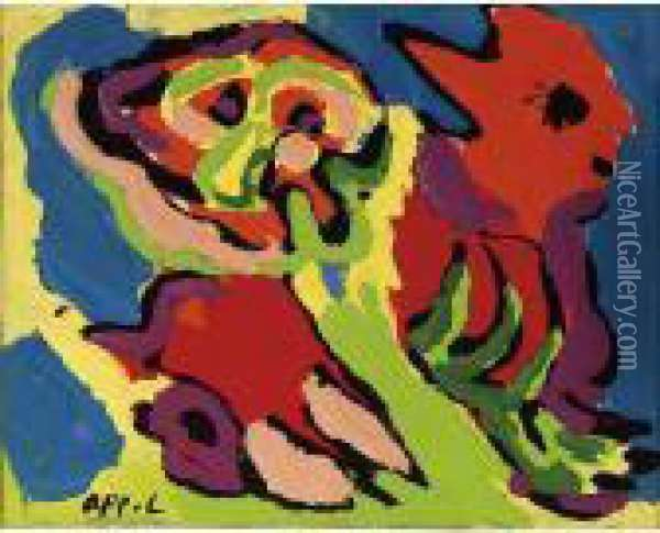 Untitled Oil Painting - Karl Appel