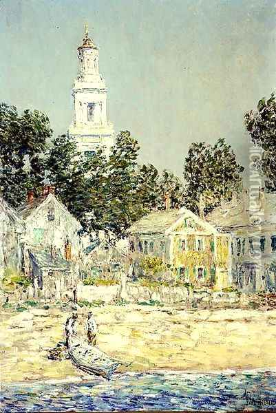 White Church, Provincetown, 1900 Oil Painting - Childe Hassam
