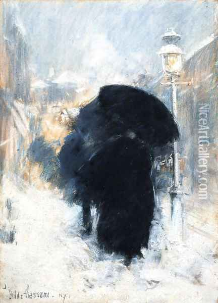 A New York Blizzard Oil Painting - Childe Hassam