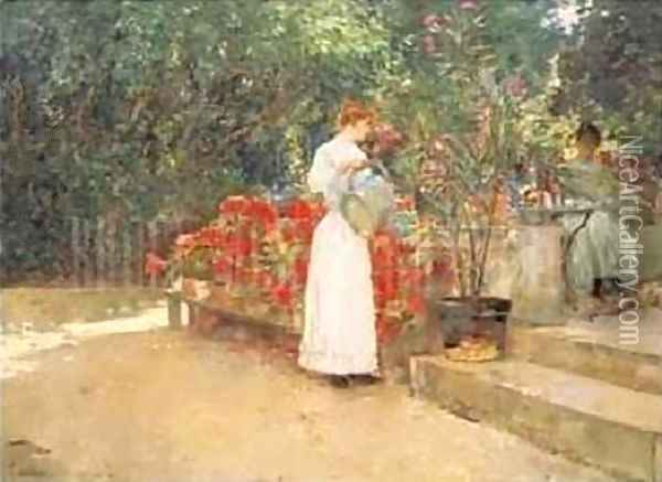 After Breakfast Oil Painting - Childe Hassam