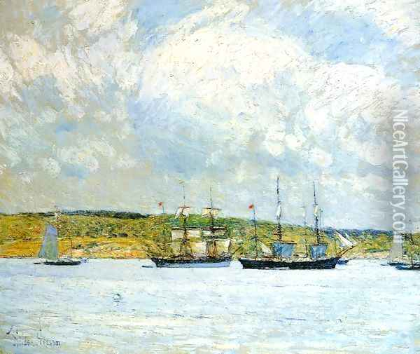 A Parade of Boats Oil Painting - Childe Hassam