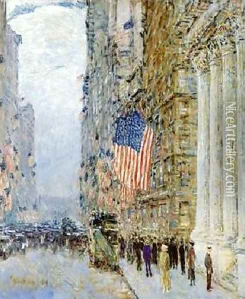 Flags on the Waldorf Oil Painting - Childe Hassam