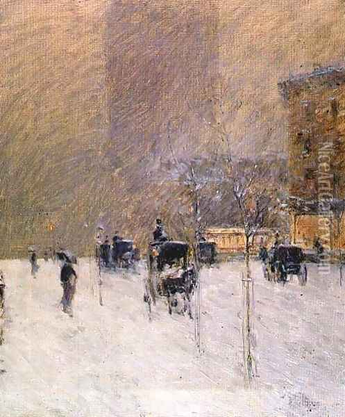 Winter Afternoon in New York, 1900 Oil Painting - Childe Hassam