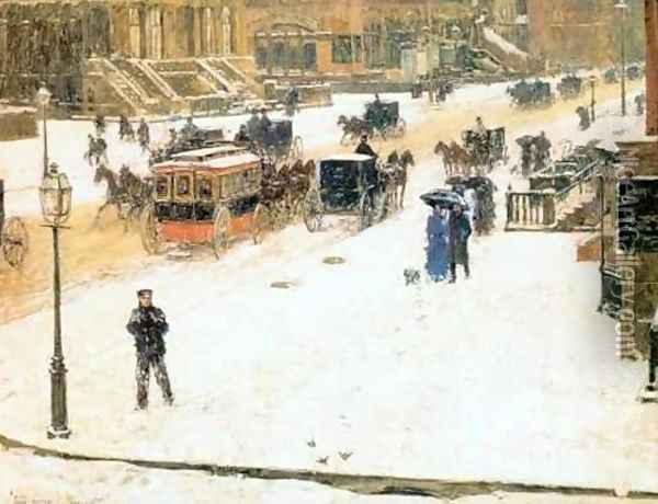 Fifth Avenue in Winter Oil Painting - Childe Hassam