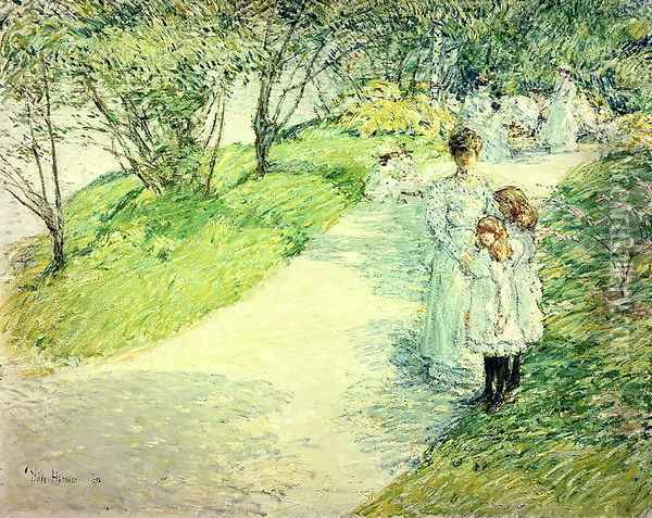Promenaders in the garden, 1898 Oil Painting - Childe Hassam