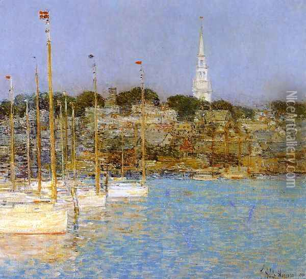 Cat Boats, Newport Oil Painting - Childe Hassam