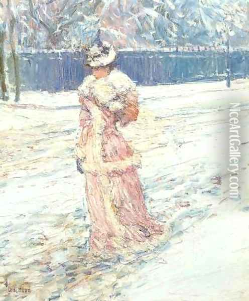 Lady in Pink Oil Painting - Childe Hassam