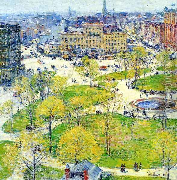 Union Square in Spring Oil Painting - Childe Hassam