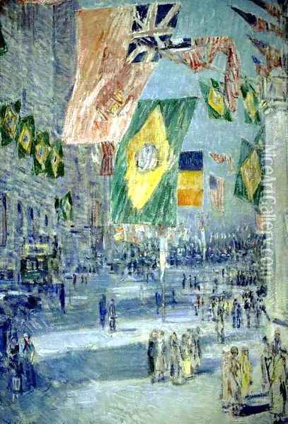Avenue of the Allies, Brazil Oil Painting - Childe Hassam