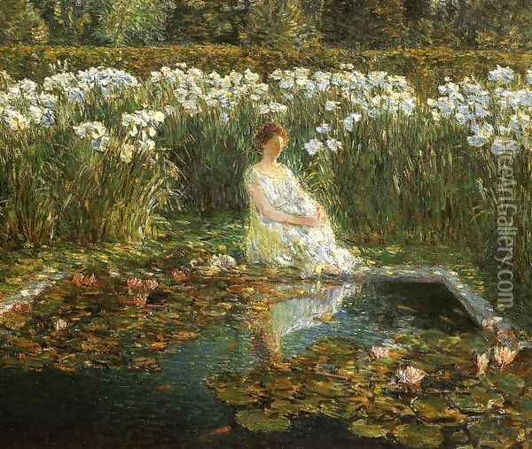 Lilies Oil Painting - Childe Hassam