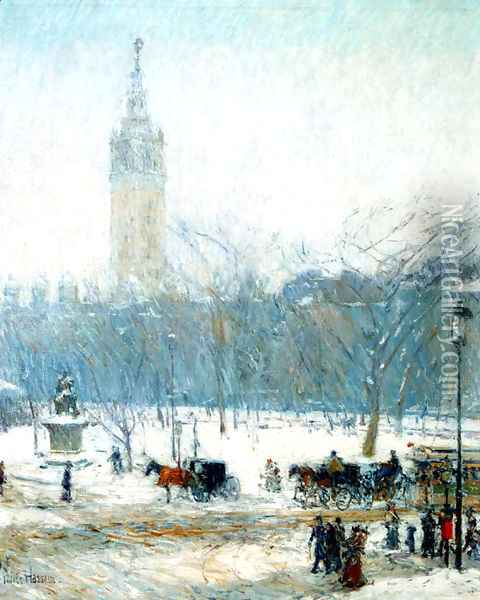Snowstorm Madison Square Oil Painting - Childe Hassam