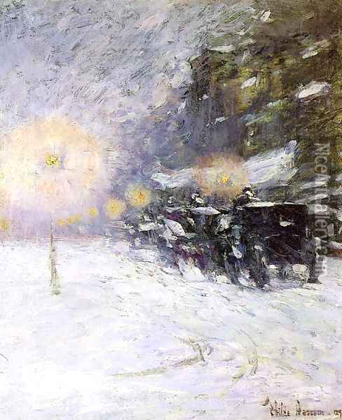 Winter Midnight Oil Painting - Childe Hassam
